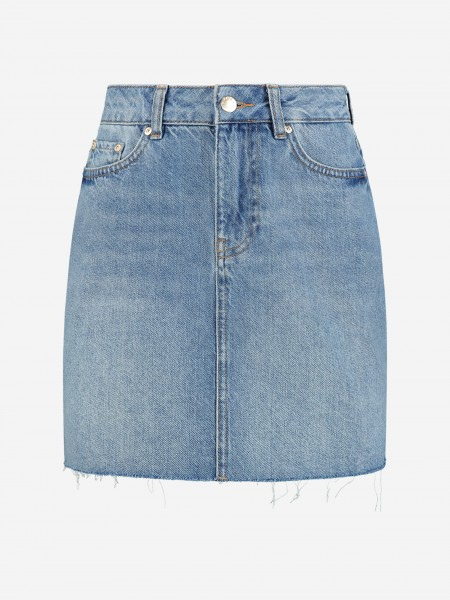 Denim skirt with light wash