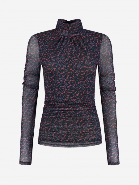 Top with semi transparent sleeves