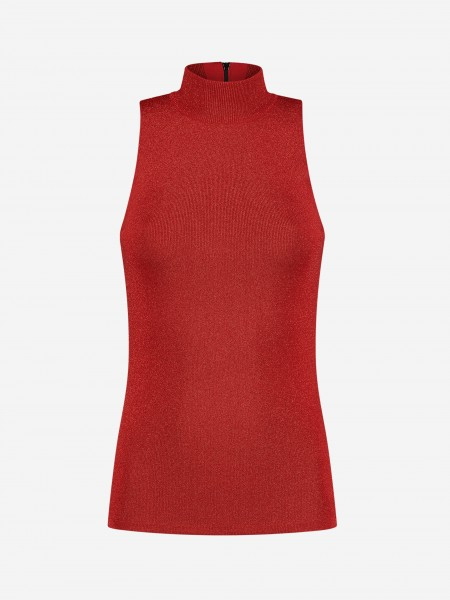 Red sleeveless glitter top