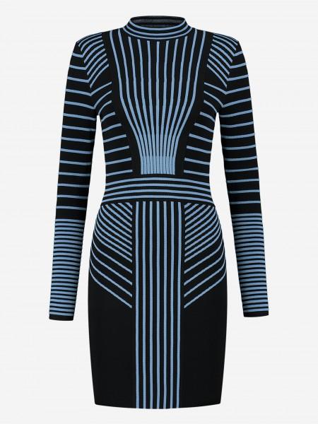 Zwarte jurk met blauwe strepen