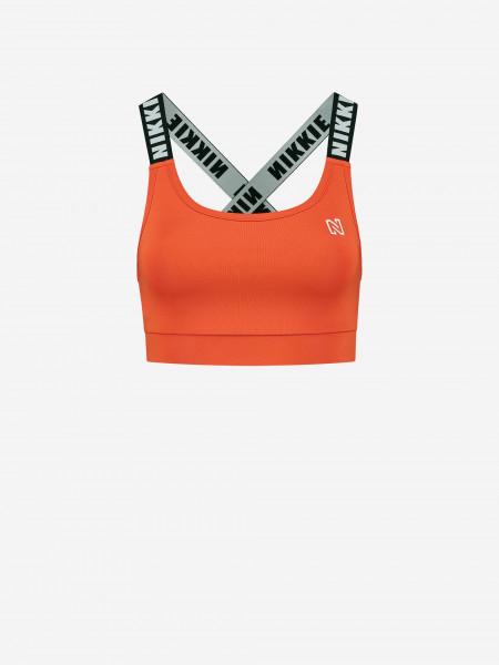 Sports bra with logo straps