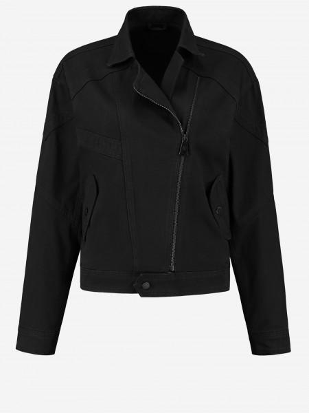 Denim jacket with angled zipper