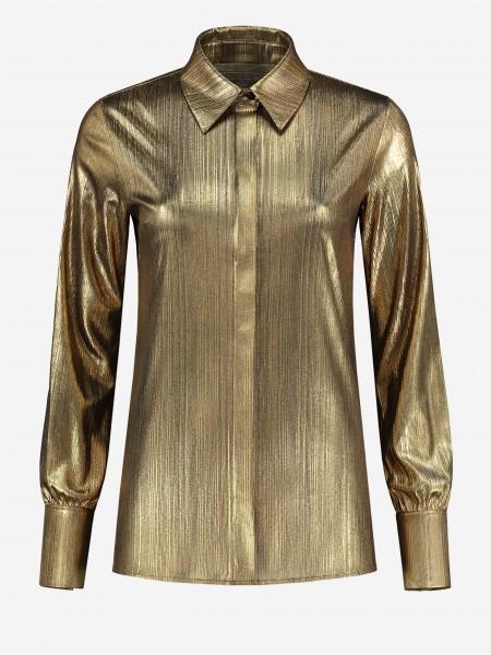 Gouden blouse met blinde sluiting