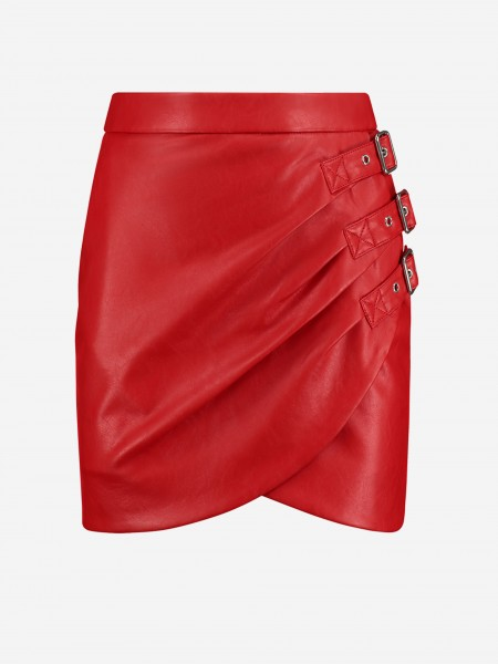 Red vegan leather skirt