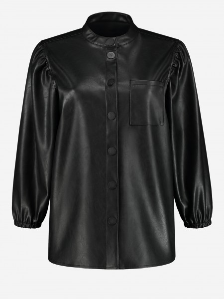 Vegan leren blouse met N logo button