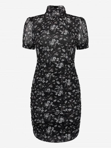 mesh dress with flower print