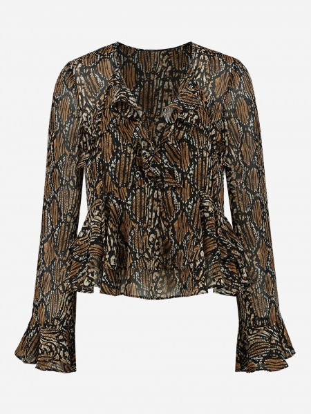 BLOUSE MET ALL-OVER PRINT EN RUCHES