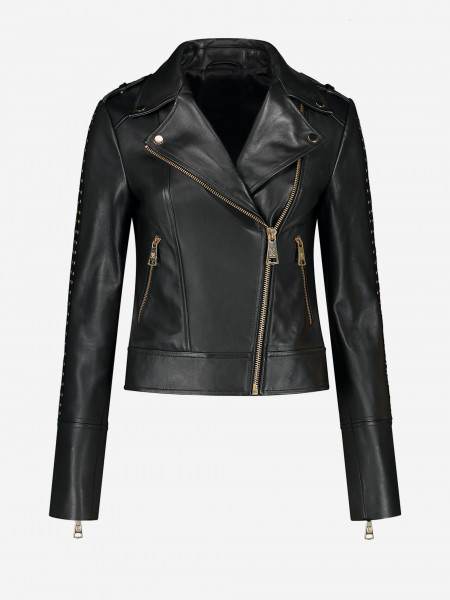 leather jacket with golden studs