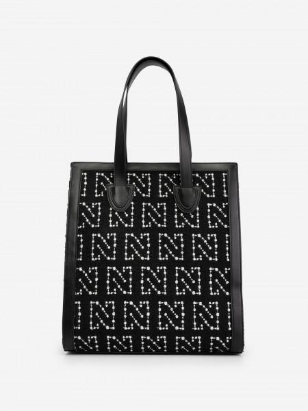 Tweed handbag with N print