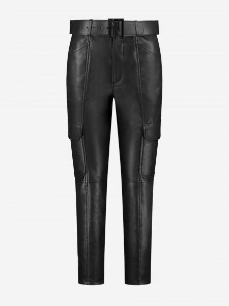 Vegan leather pants with N belt