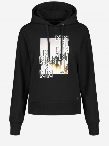Hooded sweater with N-logo artwork