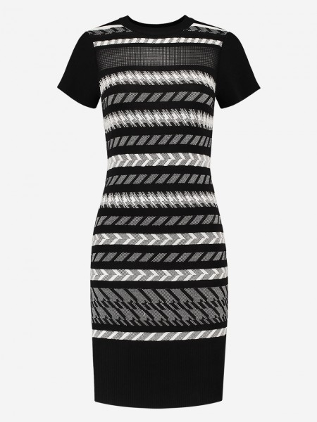Tight dress with printed stripes