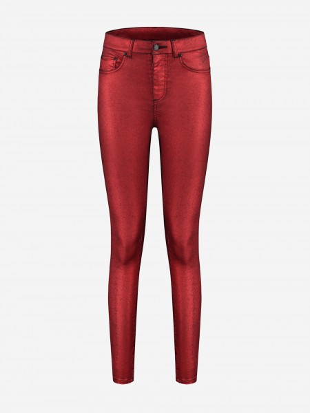 Red shiny skinny jeans