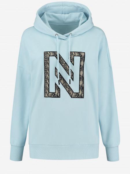hoodie with n logo in snake print