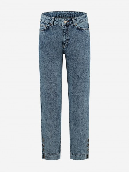 Straight fit jeans with N branded buttons