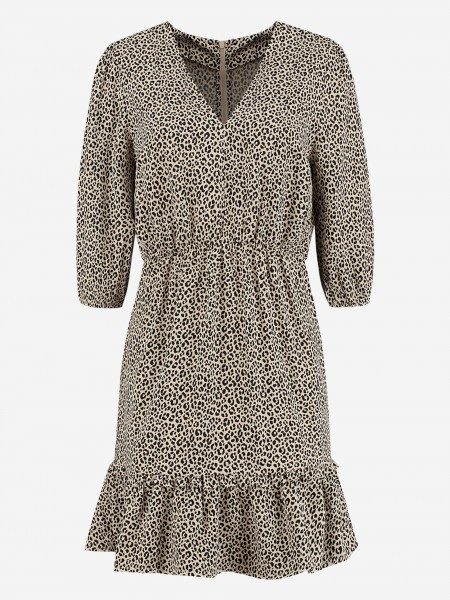 DRESS WITH ANIMAL PRINT AND RUFFLES