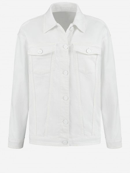 White denim jacket with N logo button