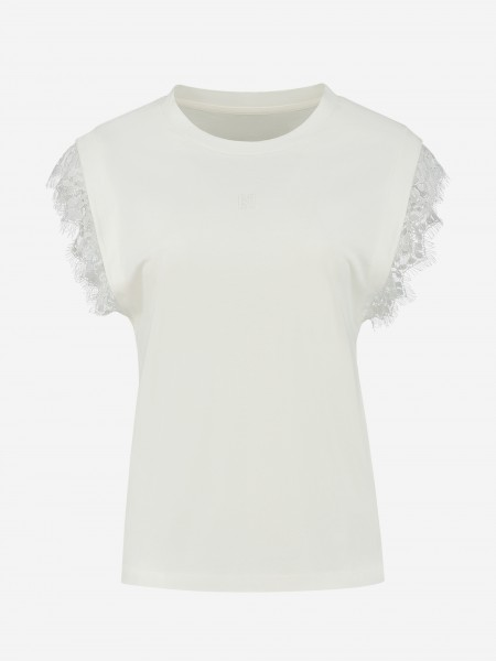 T-SHIRT WITH LACE SLEEVE ENDS