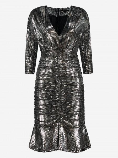 Geplooide zilver metallic jurk