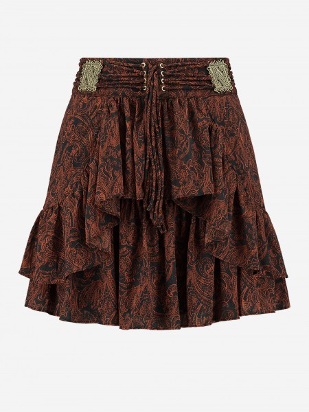 All over printed rok with lace details