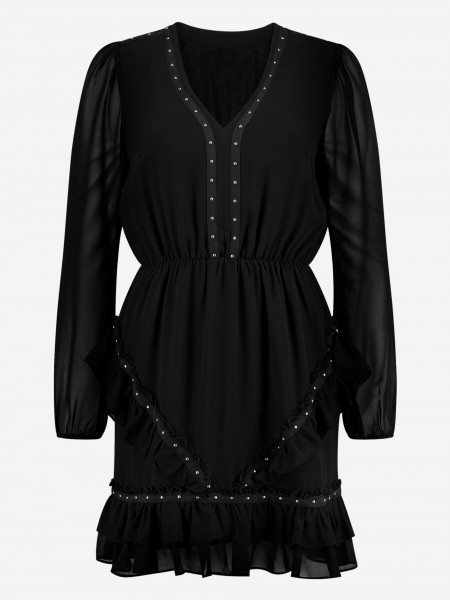 Dress with ruffles and studs