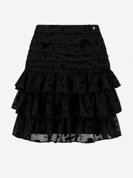 Black ruffle skirt with all over print