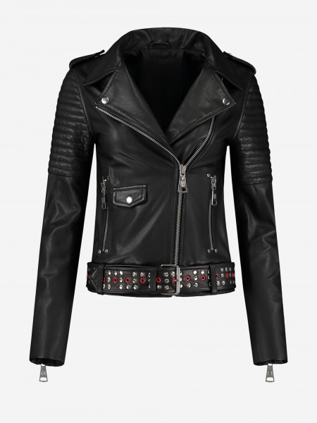 Leather jacket with belt