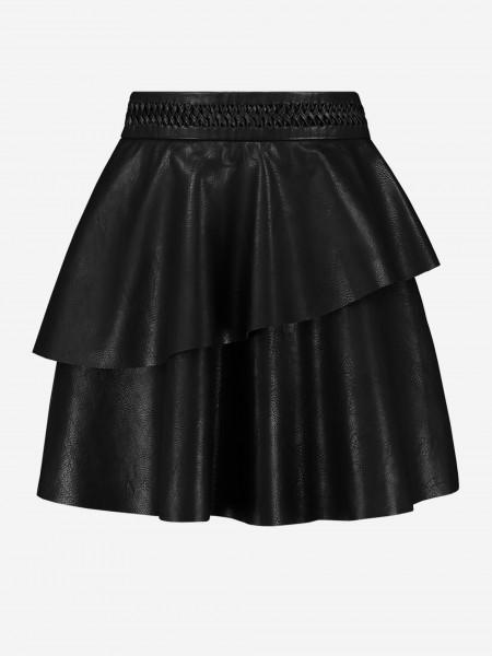 Flared vegan leather skirt
