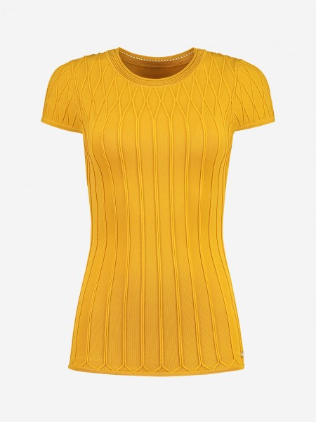 Yellow top with woven pattern