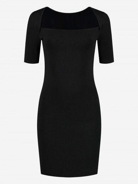 Zwarte jurk met boothals