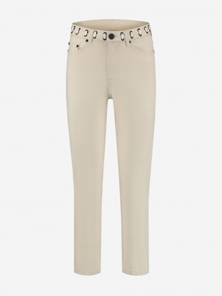 Cream jeans with cord
