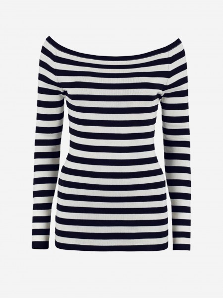 Navy/White striped off shoulder top