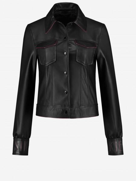 Black leather jacket with NIKKIE cuffs