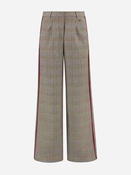 Checked pants with velvet trim