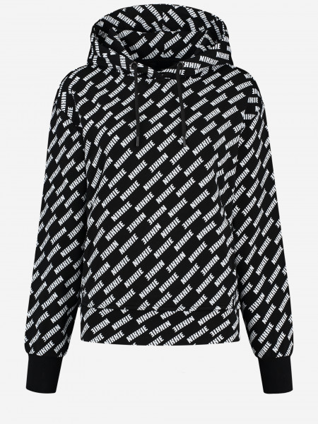Hoodie with all over logo print