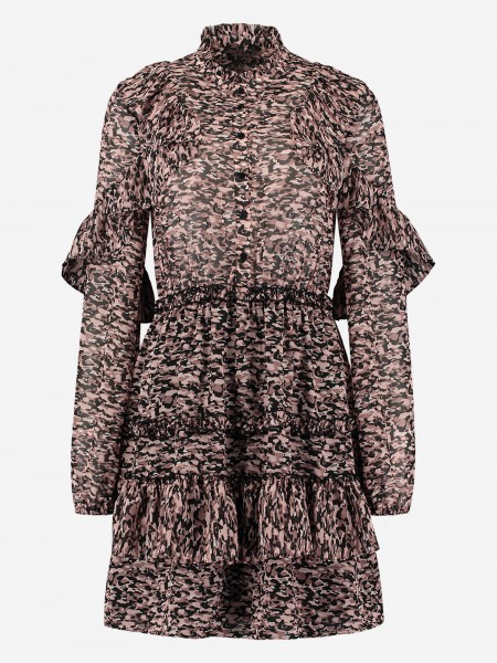 Dress with ruffles and animal print