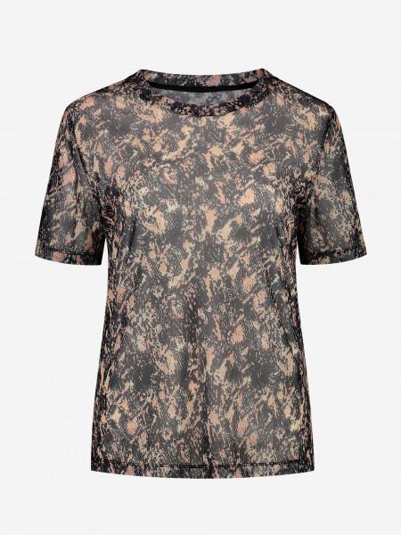 Mesh t-shirt with animal print