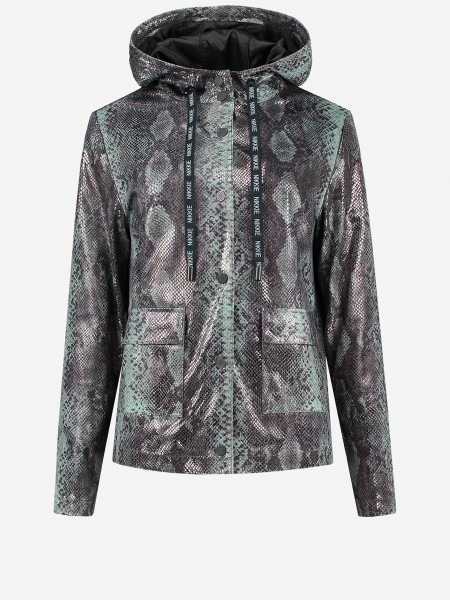 Vegan leather jacket with all over snake print