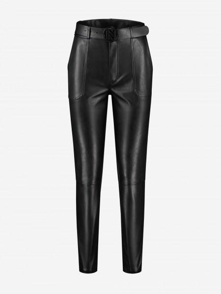Vegan leather pants with belt
