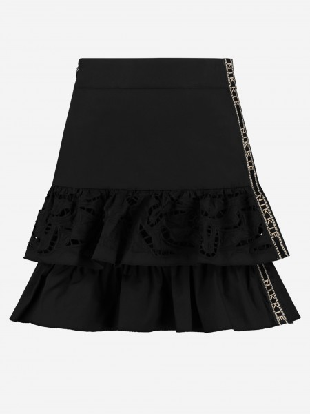 Black skirt with ruffles and logo tape