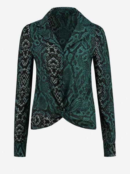 Geknoopte blouse met slangenprint