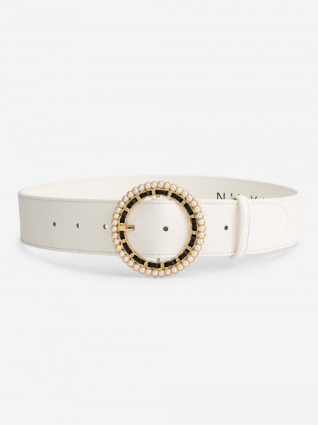 Vegan Leather Belt with Pearls