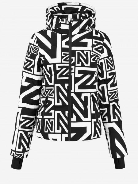 Zwarte ski jas met N logo print