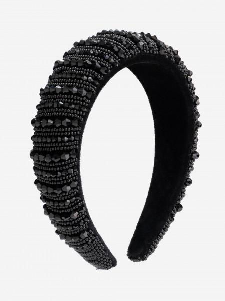 Headband with black beads