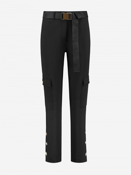 Pants with flap pockets and logo belt