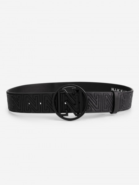 leather waist belt with stitched N logo