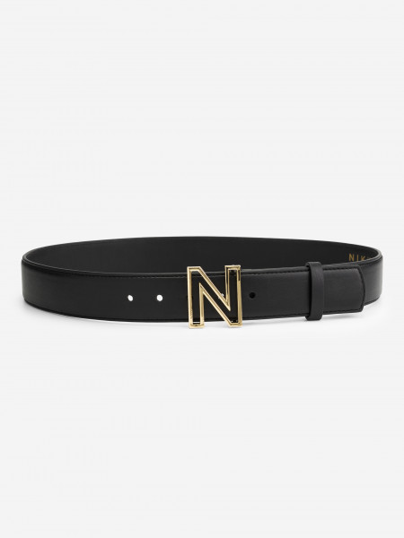 Leather belt with N buckle