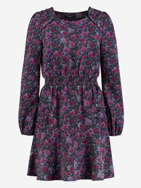 Smocked dress with flower print