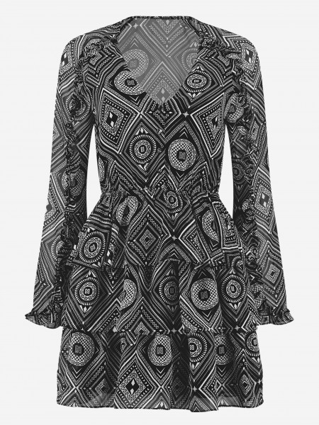 Graphic printed dress with ruffles