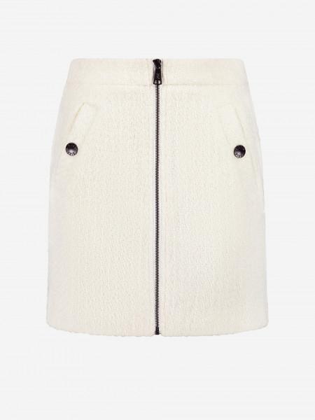 Tweed Mini Skirt with Zipper